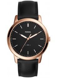 Fossil Men's Minimalist Slim Black Dial Black Leather Watch FS5376