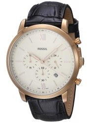 Fossil Men's Neutra Chronograph Cream Dial Black Leather Watch FS5558