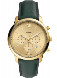 Fossil Men's Neutra Chronograph Gold Dial Green Leather Watch FS5580