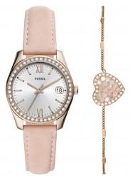 Fossil Women's Scarlette Mini Silver Dial Pink Leather Watch Set ES4607SET