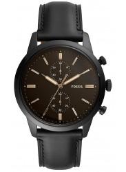 Fossil Men's Townsman Chronograph Brown Dial Black Leather Watch FS5585
