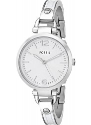 Fossil Women's Georgia White Leather Covered Stainless Steel Watch ES3259