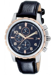 Fossil Men's Chronograph Black Leather Watch FS4545
