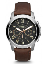 Fossil Men's Grant Chronograph GMT Brown Leather Watch FS4813