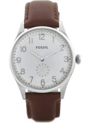 Fossil Men's Silver Dial Brown Leather Watch FS4851