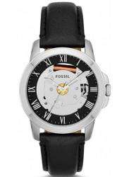 Fossil Unisex Grant Skeleton Dial Black Leather Watch FS4869