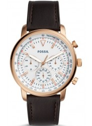 Fossil Men's Goodwin Chronograph White Dial Brown Leather Watch FS5415