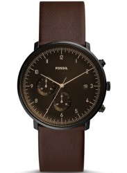 Fossil Men's Chase Timer Chronograph Brown Dial Brown Leather Watch FS5485
