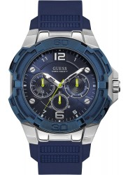 Guess Men's Genesis Chronograph Blue Dial Blue Rubber Watch W1254G1