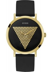 Guess Men's Imprint Black and Gold Dial Black Rubber Watch W1161G1