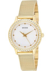Guess Women's Chelsea White Dial Gold Mesh Stainless Steel Watch W0647L7