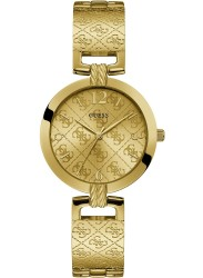 Guess Women's G Luxe Gold Monogram Dial Gold Stainless Steel Watch W1228L2