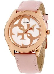 Guess Women's G Twist White Dial Pink Leather Watch W0895L6