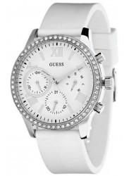 Guess Women's Solar Chronograph White Dial White Rubber Watch W1135L7
