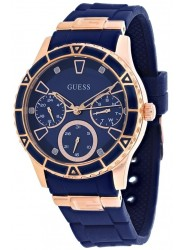 Guess Women's Valencia Chronograph Blue Dial Blue Rubber Watch W1157L3