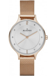 Skagen Women's Anita Silver Dial Rose gold Stainless Steel Mesh Watch SKW2151