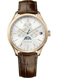 Tommy Hilfiger Men's Silver Dial Brown Leather Watch 1791306