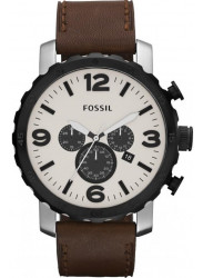 Fossil Men's Nate Chronograph Brown Leather Watch JR1390