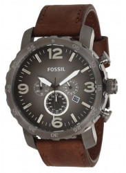 Fossil Men's JR1424 Nate Chronograph Leather Watch JR1424