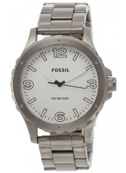 Fossil Men's Nate White Dial Stainless Steel Watch JR1456