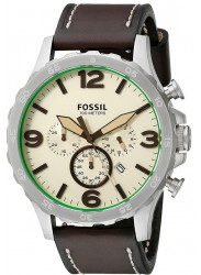 Fossil Men's JR1496 Nate Beige Brown Leather Quartz Watch