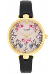 Kate Spade New York Women's Holland Multicolour Dial Black Leather Watch KSW1462