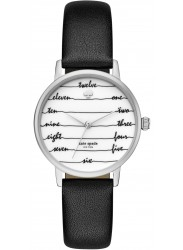 Kate Spade Women's Metro White Dial Black Leather Watch KSW1348