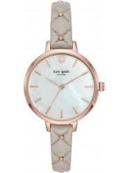 Kate Spade Women's Metro Mother of Pearl Dial Grey Leather Watch KSW1470