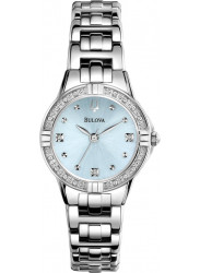 Bulova Women's Diamond Light Blue Dial Stainless Steel Watch 96R172