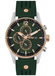 Lee Cooper Men's Chronograph Green Dial Green Rubber Watch LC06419.375