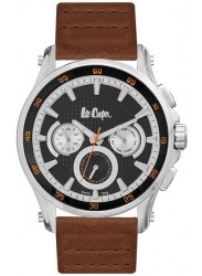 Lee Cooper Men's Chronograph Black Multi-Function Dial Brown Leather Watch LC06540.355