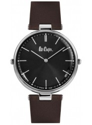 Lee Cooper Unisex Reversible Black Dial Brown Leather Strap Watch LC06636.332