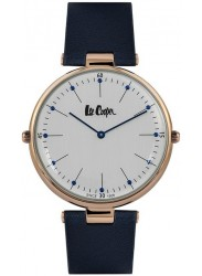 Lee Cooper Unisex Reversible White Dial Blue Leather Strap Watch LC06636.499