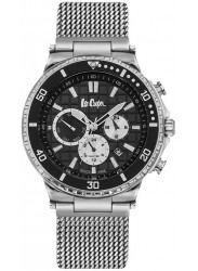 Lee Cooper Men's Chronograph Black Multi-Function Dial Stainless Steel Watch LC06641.350