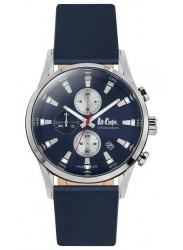 Lee Cooper Men's Chronograph Blue Dial Blue Leather Strap Watch LC06657.399