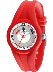Maserati Children's Campione White Dial Red Rubber Watch R8851135003