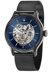 Maserati Men's Epoca Automatic Blue Skeletal Dial Black Stainless Steel Watch R8823118002