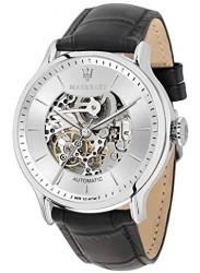 Maserati Men's Epoca Automatic Silver Skeletal Dial Black Leather Watch R8821118003