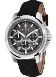 Maserati Men's Successo Chronograph Black Dial Black Leather Watch R8871621006