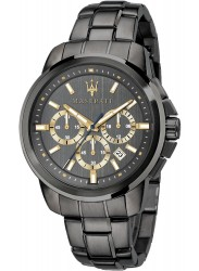Maserati Men's Successo Chronograph Black Dial Black Stainless Steel Watch R8873621007