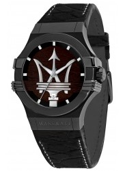 Maserati Men's Potenza Wood Dial Black Leather Watch R8851108026
