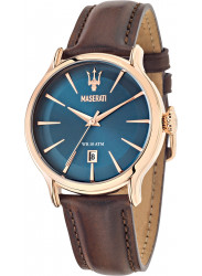 Maserati Men's Epoca Blue Dial Brown Leather Strap Watch R8851118001