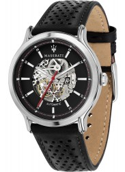 Maserati Men's Legend Skeleton Automatic Black Dial Black Leather Watch R8821138002
