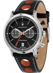 Maserati Men's Legend Chronograph Black Dial Black Leather Watch R8851138003