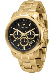 Maserati Men's Successo Chronograph Black Dial Gold Stainless Steel Watch R8873621013