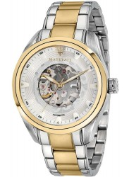 Maserati Men's Traguardo Skeleton Automatic Silver Dial Two Tone Stainless Steel Watch R8823112003