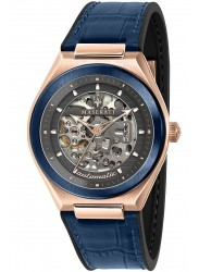Maserati Men's Triconic Skeleton Automatic Black Dial Blue Leather Watch R8821139002
