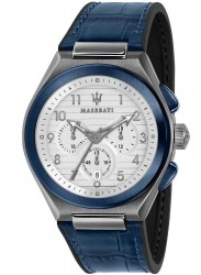 Maserati Men's Triconic Chronograph White Dial Blue Leather Watch R8871639001