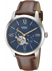 Fossil Men's Townsman Automatic Brown Leather Blue Dial Watch ME3110
