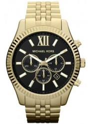 Michael Kors Men's Lexington Chronograph Black Dial Gold Tone Watch MK8286